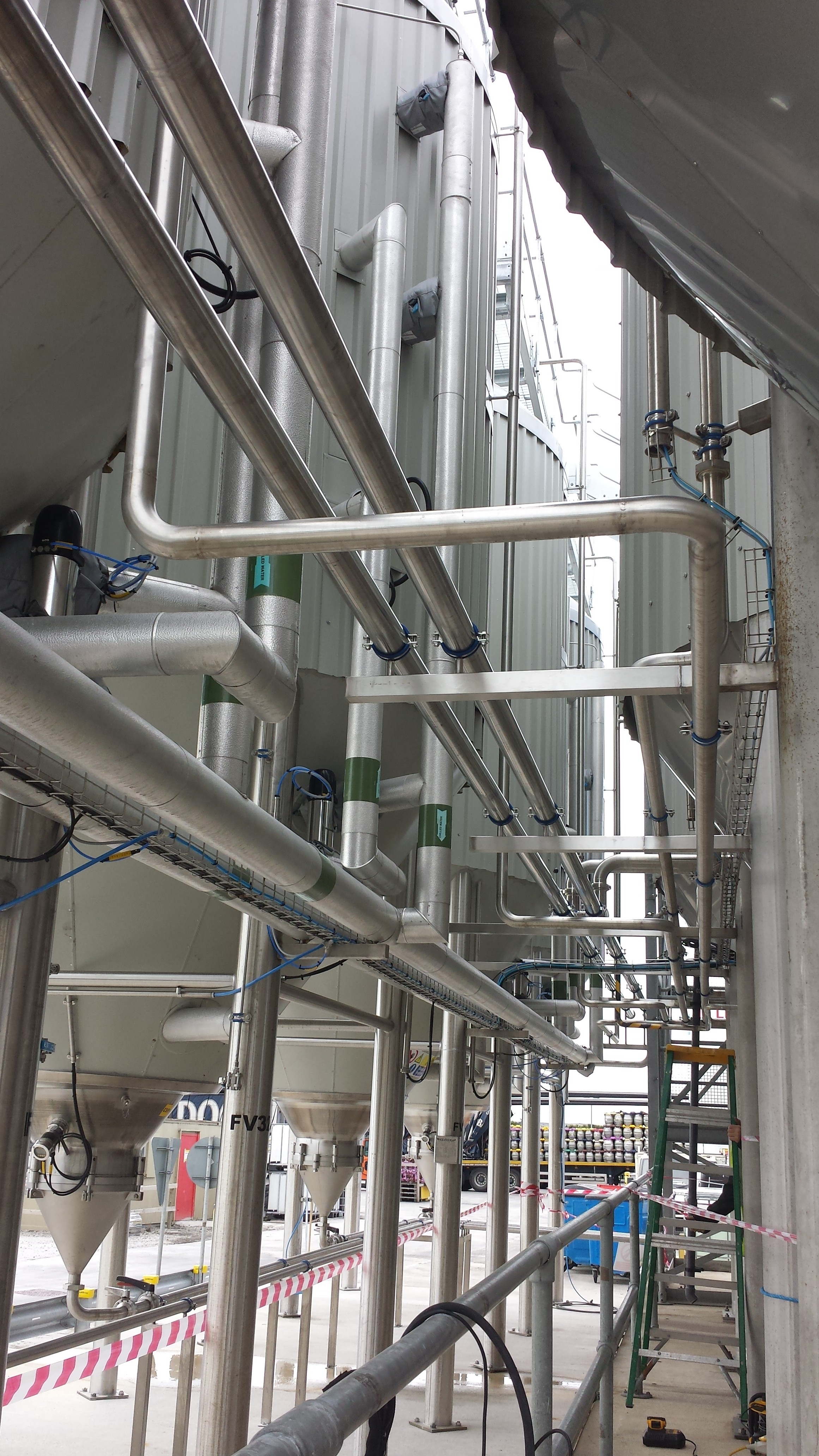 stainless industrial pipework